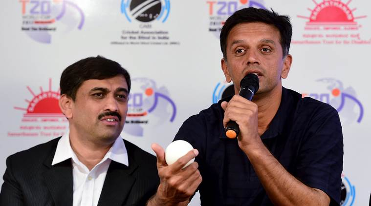 Bengaluru : Former cricketer & India 'A' team coach Rahul Dravid speaks during an event to announce him as a Brand Ambassador for 2nd T20 World Cup Cricket for the Blind 2017, in Bengaluru on Wednesday. PTI Photo by Shailendra Bhojak  (PTI11_9_2016_000230A)
