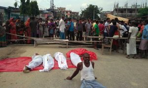 Rautahat drowning: Locals demonstrate with victims' bodies