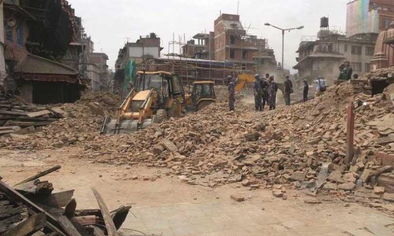 The rubble after destruction of Kasthamandap