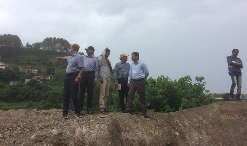 Members of a technical team at a site along proposed Raxaul-Kathmandu railway, on Friday, June 8, 2018.
