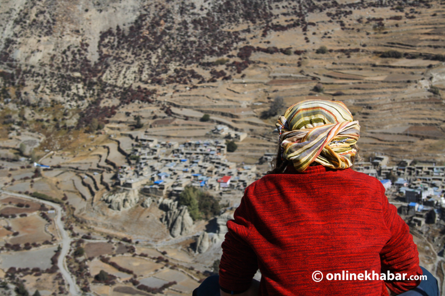 A person looking at Manang from an adjacent hill. Nepal
