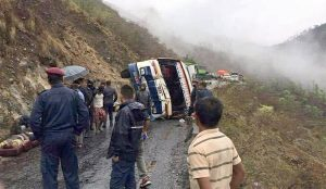Three dead, 16 injured in a bus accident in Okhaldhunga
