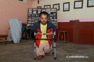 This man cannot walk independently. Now he hopes his artworks will take him around the world