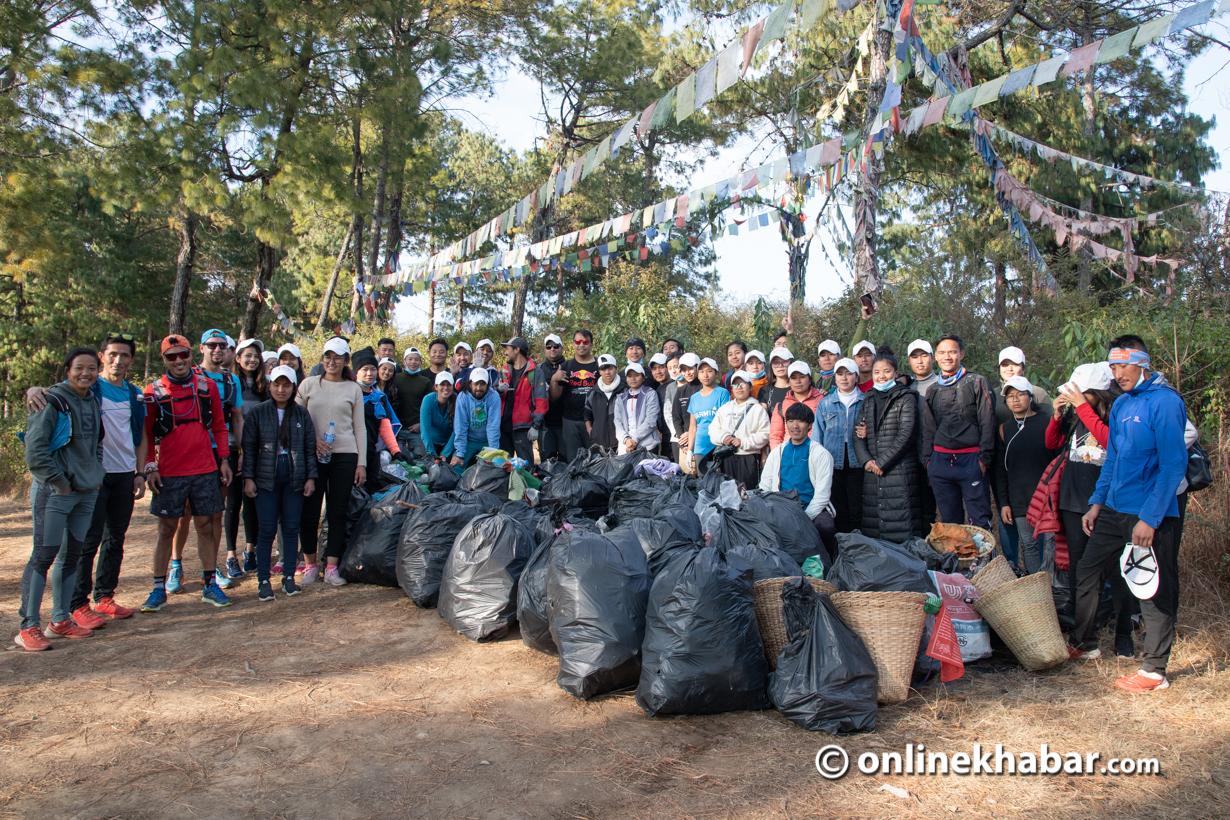 Mira Rai initiative organises cleanup of Champadevi hiking trail