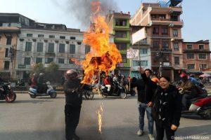 Lalitpur locals burn mayor's effigy