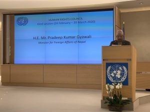 Foreign Affairs Minister in Geneva renews Nepal's commitment to human rights