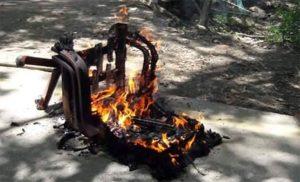 Nepali Congress students burn TU VC's chair