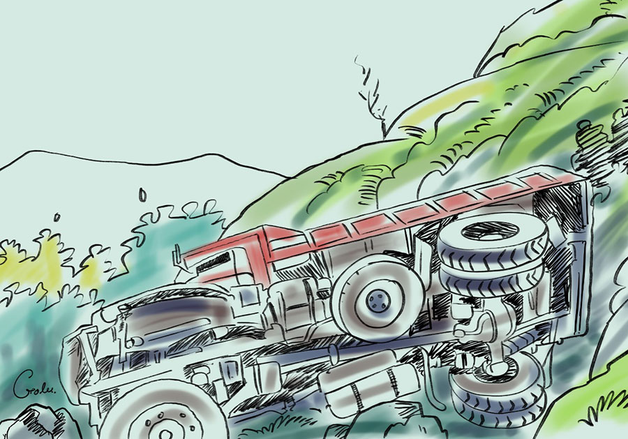 tipper-accident-river-truck accident