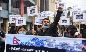 Demonstration outside Chinese Embassy in Kathmandu 'against encroachment'