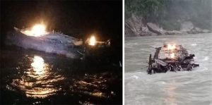 Petrol tanker plunges into Trishuli before catching fire