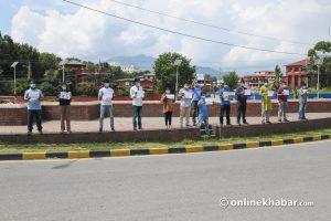 Nepali Congress cadres demonstrate against railway corruption in Kathmandu