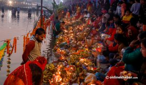 Main day of Chhath today, no public celebrations in Kathmandu