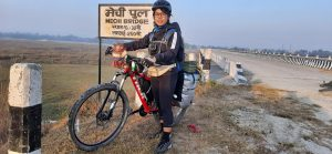 Sweta Shrestha, a lady, cycled from Mechi to Mahakali for a change. What's that?