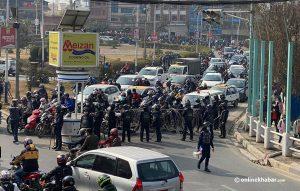 Traffic chaos in Kathmandu as NCP Dahal-Nepal camp protest creates headache for police