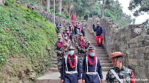 Nepal Army personnel trekking Prithvi Narayan Shah's unification trail