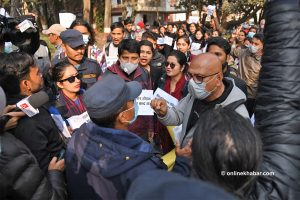Kathmandu police bar students from staging drama against House dissolution