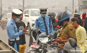Kathmandu traffic police book 1,173 vehicles for various offences on Holi