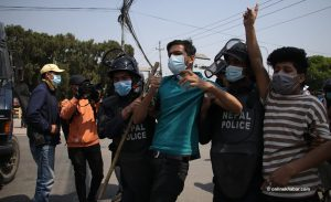 Kathmandu police detain demonstrators for demanding climate emergency declaration