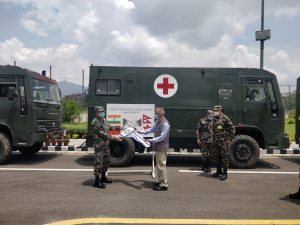 Indian Army hands over medical aid to Nepal Army