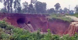 East-West Highway obstructed in Nawalpur as flood destroys culvert
