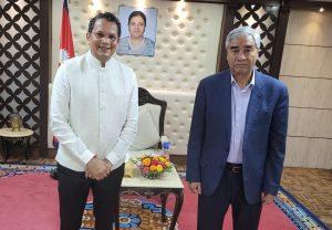 Indian BJP foreign affairs chief Vijay Chauthaiwale in Kathmandu upon PM Deuba's invite