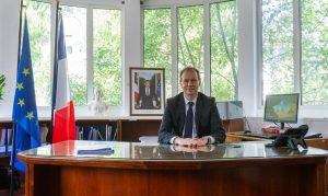 Gilles Bourbao, the new French ambassador to Nepal, presents his credentials