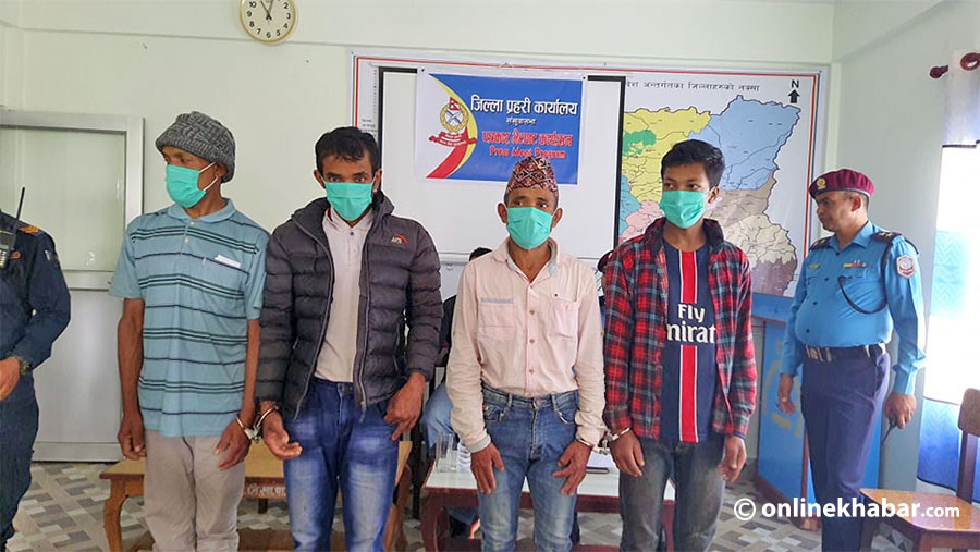 Suspects of a mass murder case are made public in Sankhuwasabha, on Monday, September 20, 2021.